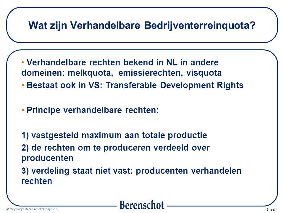 © Copyright Berenschot Groep B.V. Sheet 4 Wat zijn Verhandelbare Bedrijventerreinquota.