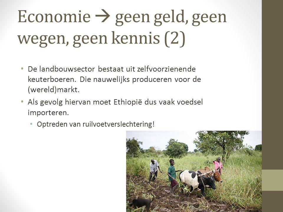 Economie  geen geld, geen wegen, geen kennis (2) • De landbouwsector bestaat uit zelfvoorzienende keuterboeren. Die nauwelijks produceren voor de (we