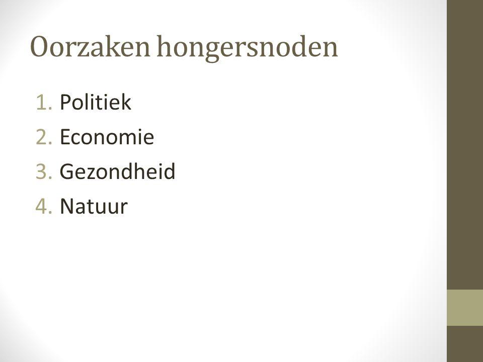 Oorzaken hongersnoden 1.Politiek 2.Economie 3.Gezondheid 4.Natuur