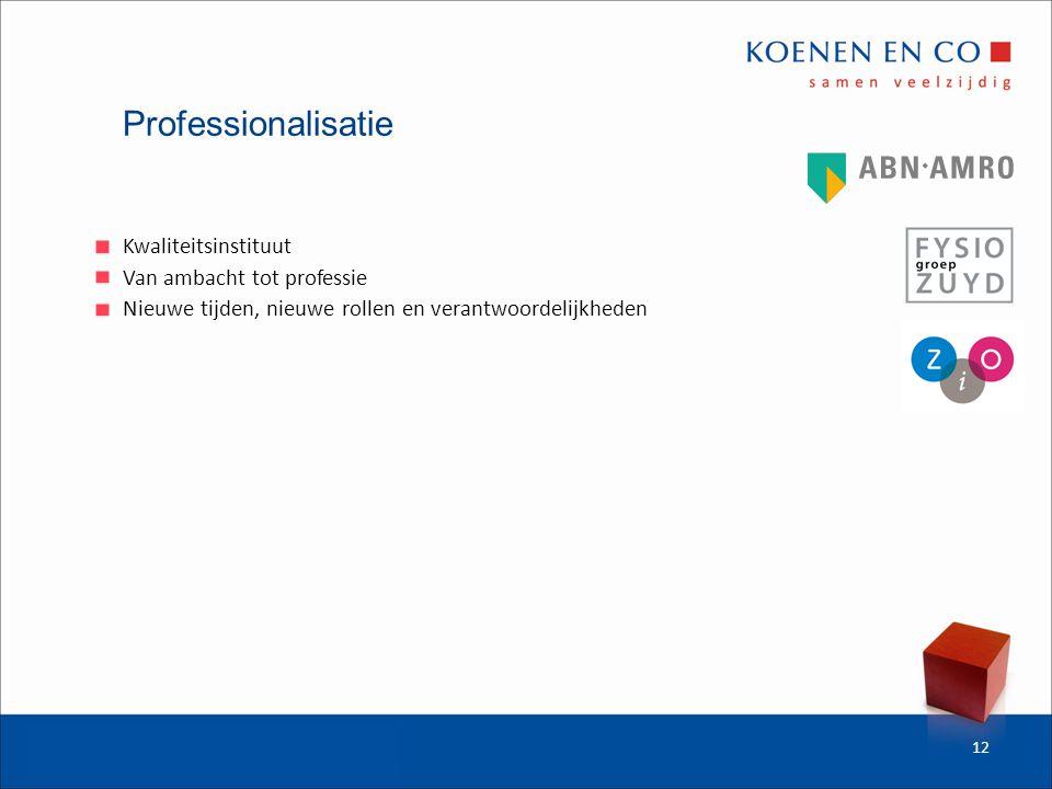 Professionalisatie Kwaliteitsinstituut Van ambacht tot professie Nieuwe tijden, nieuwe rollen en verantwoordelijkheden 12