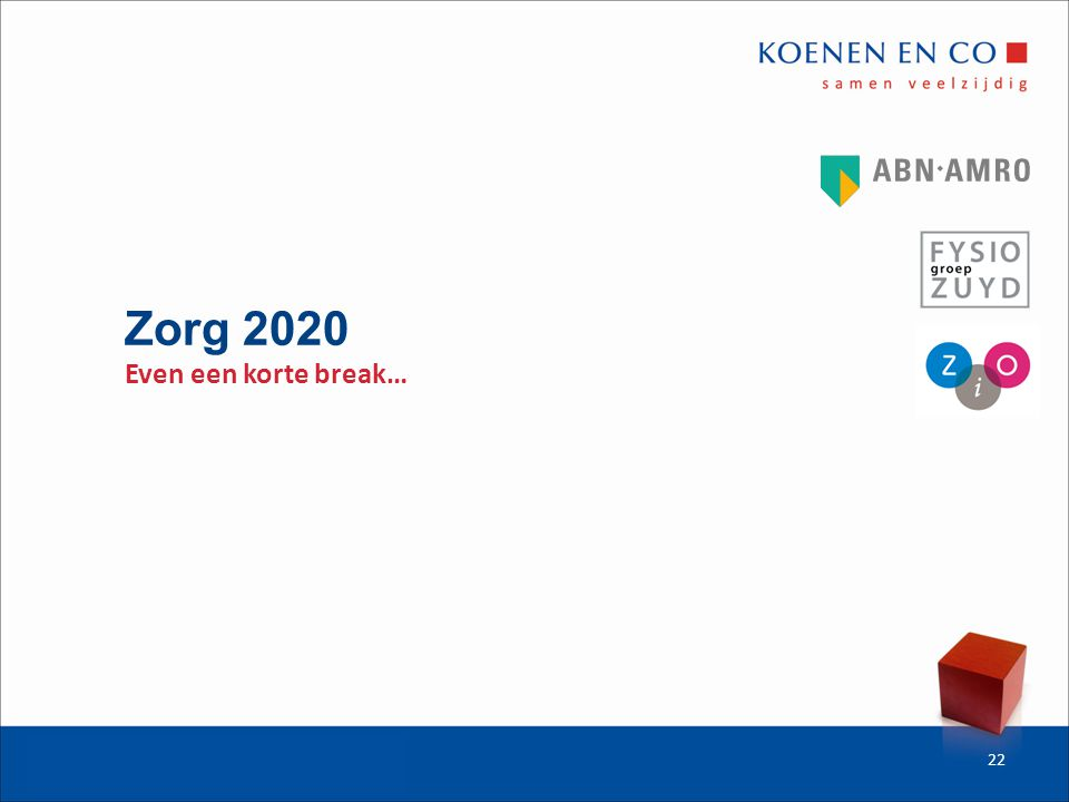 Zorg 2020 Even een korte break… 22