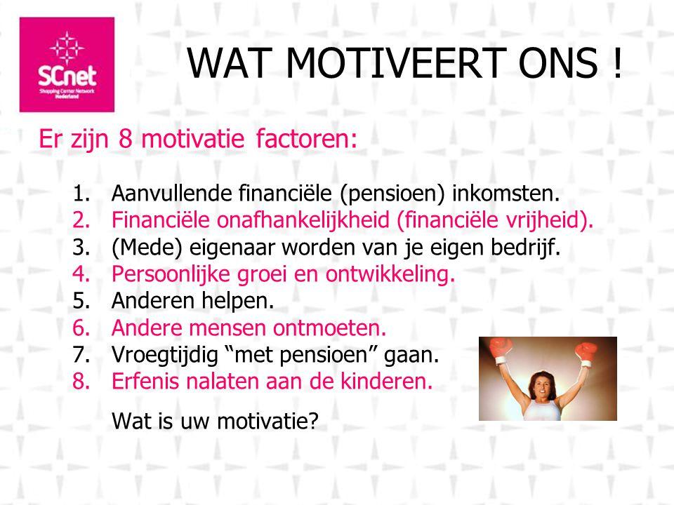 WAT MOTIVEERT ONS . Er zijn 8 motivatie factoren: 1.Aanvullende financiële (pensioen) inkomsten.