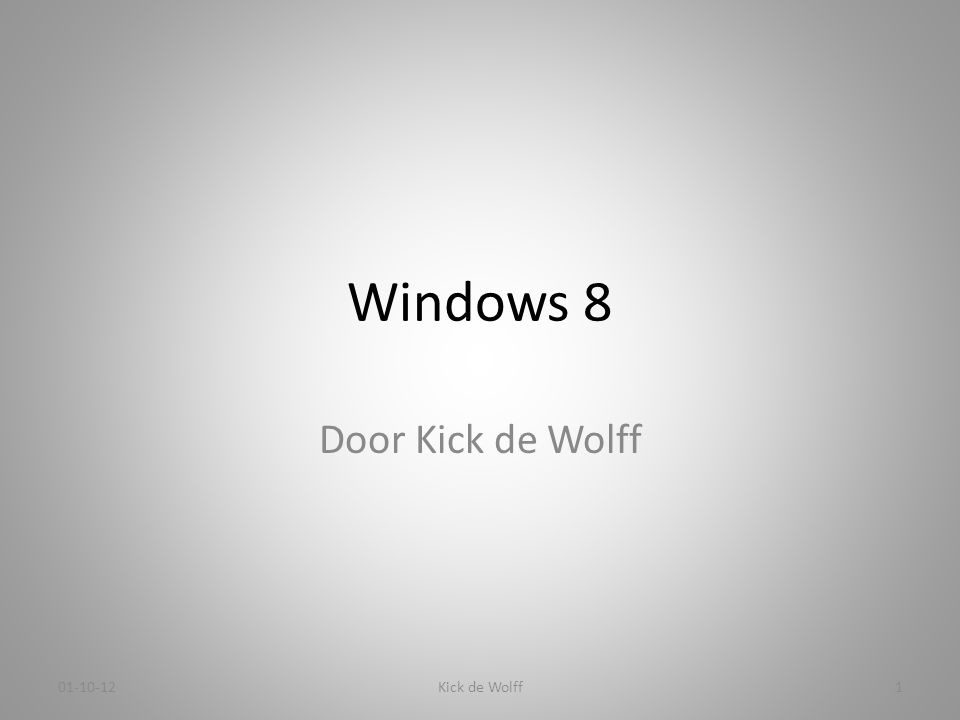 Introductie van Kick • Voor diegene die mij nog niet kennen, ik ben van 1966 t/m 1998 werkzaam geweest in de automatisering.