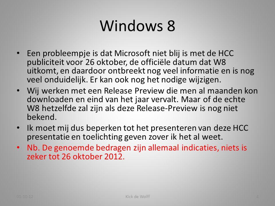 Windows 8 • Een probleempje is dat Microsoft niet blij is met de HCC publiciteit voor 26 oktober, de officiële datum dat W8 uitkomt, en daardoor ontbr