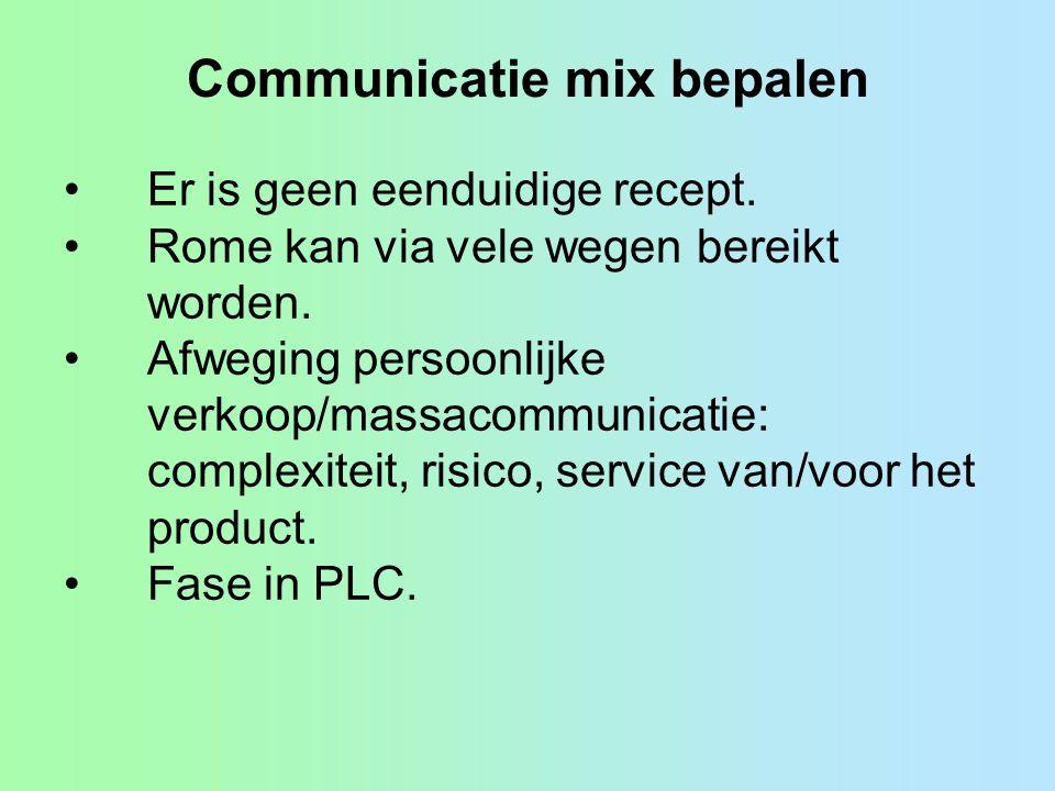 Communicatie mix bepalen •Er is geen eenduidige recept.