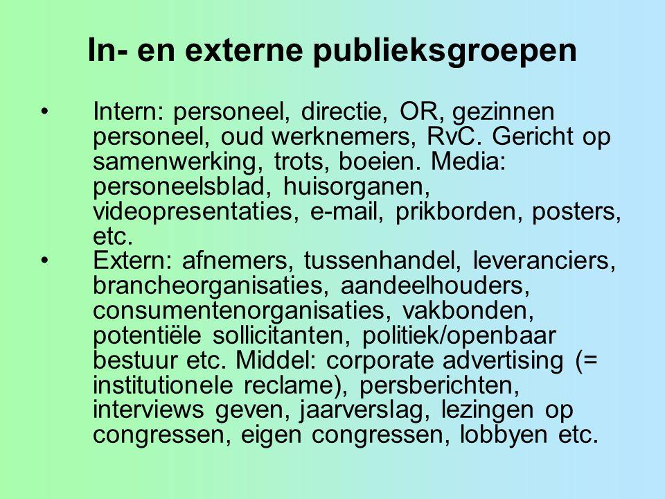In- en externe publieksgroepen •Intern: personeel, directie, OR, gezinnen personeel, oud werknemers, RvC.