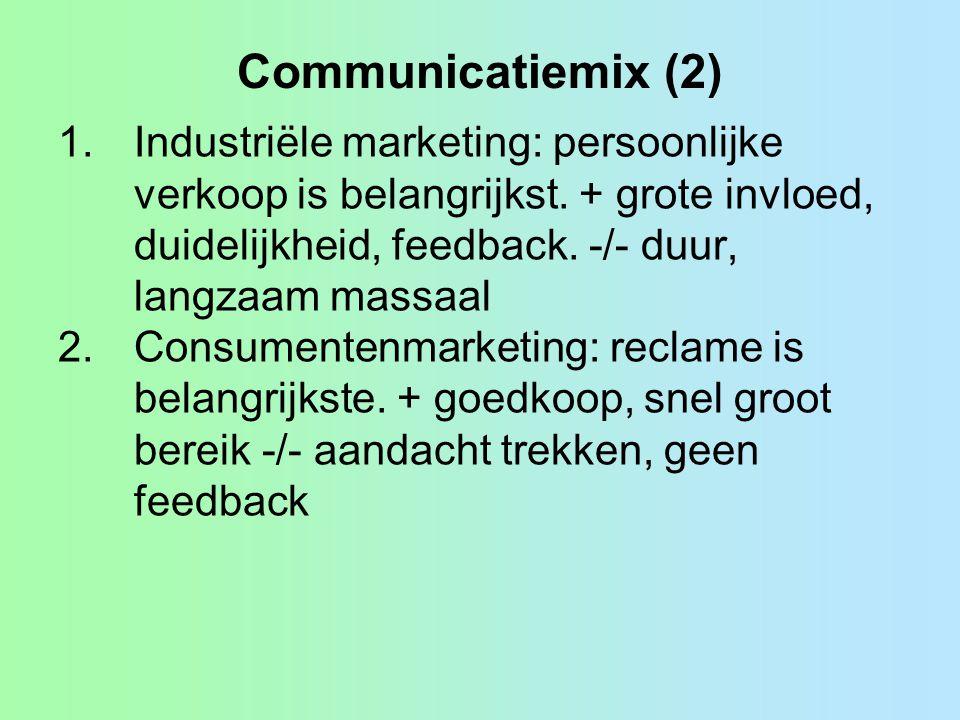 Communicatiemix (2) 1.Industriële marketing: persoonlijke verkoop is belangrijkst.