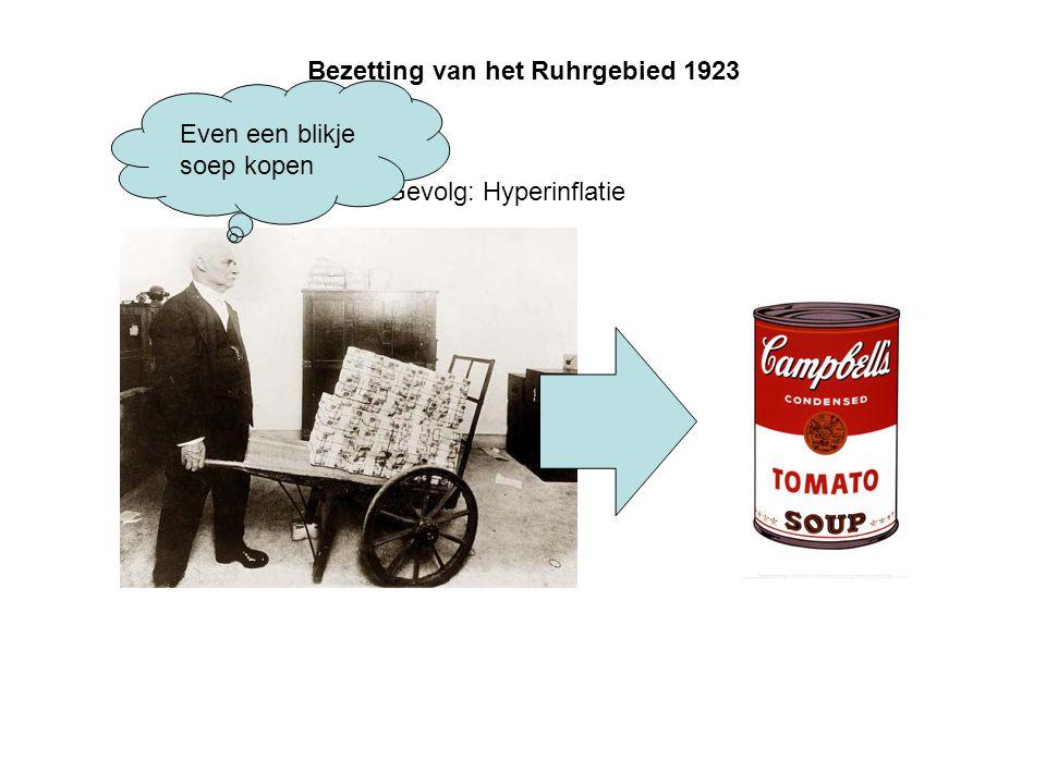 Bezetting van het Ruhrgebied 1923 Gevolg: Hyperinflatie Even een blikje soep kopen