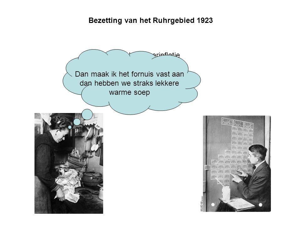 Bezetting van het Ruhrgebied 1923 Gevolg: Hyperinflatie Dan maak ik het fornuis vast aan dan hebben we straks lekkere warme soep
