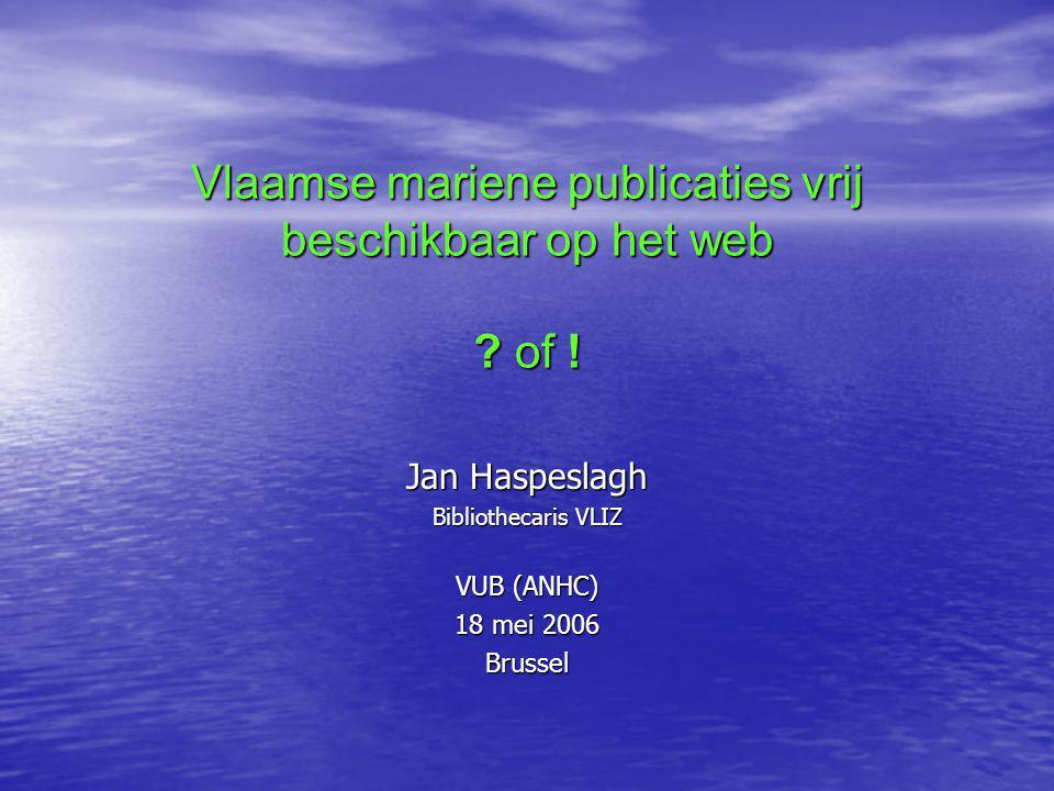Vlaamse mariene publicaties vrij beschikbaar op het web .