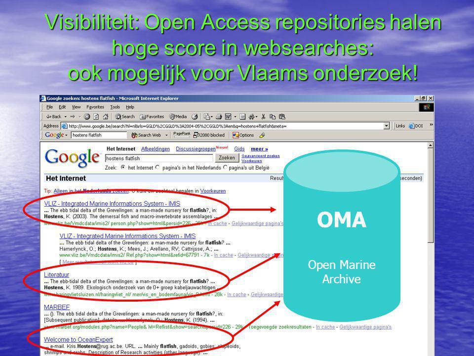 Visibiliteit: Open Access repositories halen hoge score in websearches: ook mogelijk voor Vlaams onderzoek.