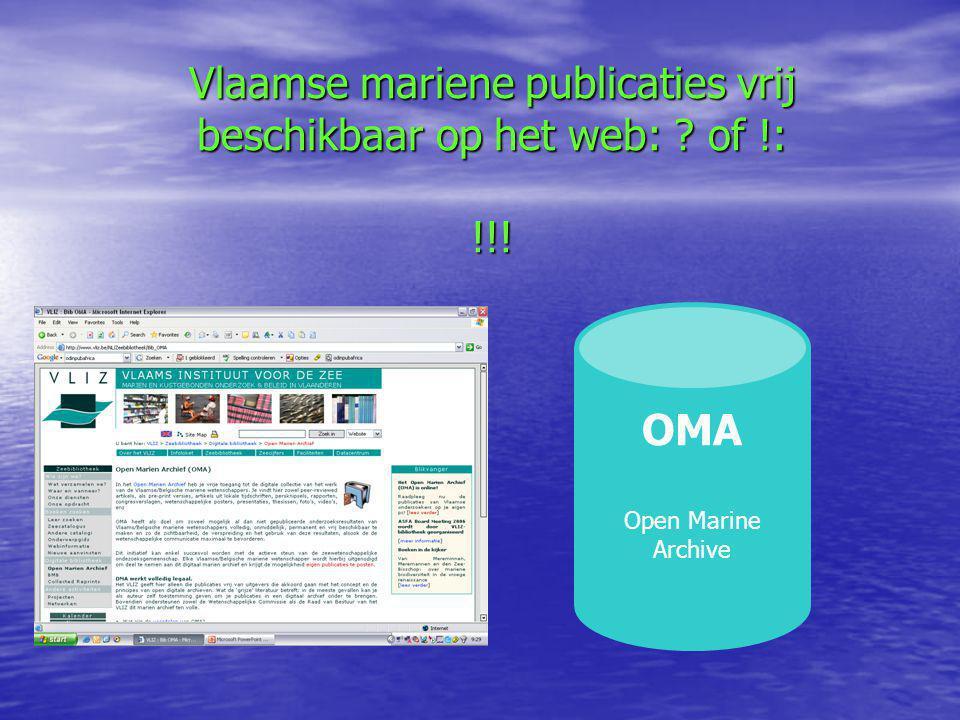 Vlaamse mariene publicaties vrij beschikbaar op het web: of !: !!! OMA Open Marine Archive