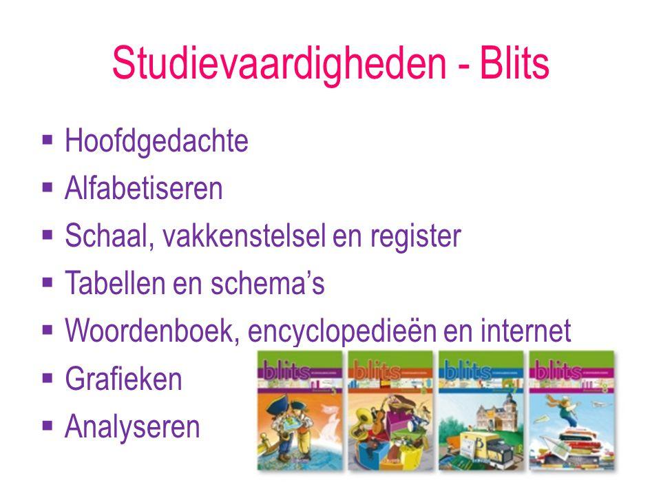 Studievaardigheden - Blits  Hoofdgedachte  Alfabetiseren  Schaal, vakkenstelsel en register  Tabellen en schema's  Woordenboek, encyclopedieën en internet  Grafieken  Analyseren
