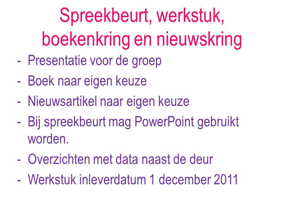 Spreekbeurt, werkstuk, boekenkring en nieuwskring -Presentatie voor de groep -Boek naar eigen keuze -Nieuwsartikel naar eigen keuze -Bij spreekbeurt mag PowerPoint gebruikt worden.