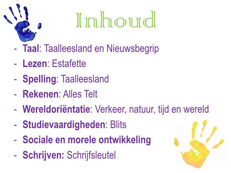 Inhoud - Taal : Taalleesland en Nieuwsbegrip - Lezen : Estafette - Spelling : Taalleesland - Rekenen : Alles Telt - Wereldoriëntatie : Verkeer, natuur