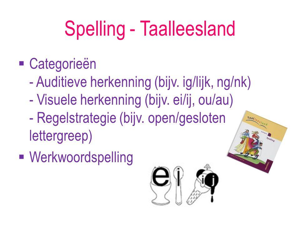 Spelling - Taalleesland  Categorieën - Auditieve herkenning (bijv. ig/lijk, ng/nk) - Visuele herkenning (bijv. ei/ij, ou/au) - Regelstrategie (bijv.