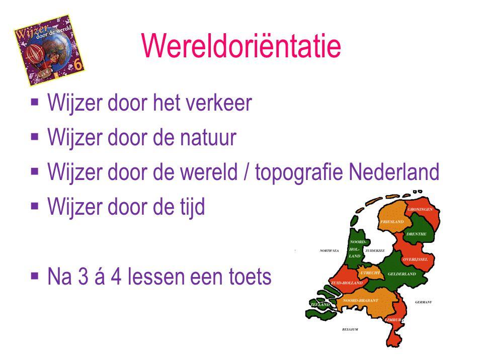 Wereldoriëntatie  Wijzer door het verkeer  Wijzer door de natuur  Wijzer door de wereld / topografie Nederland  Wijzer door de tijd  Na 3 á 4 lessen een toets