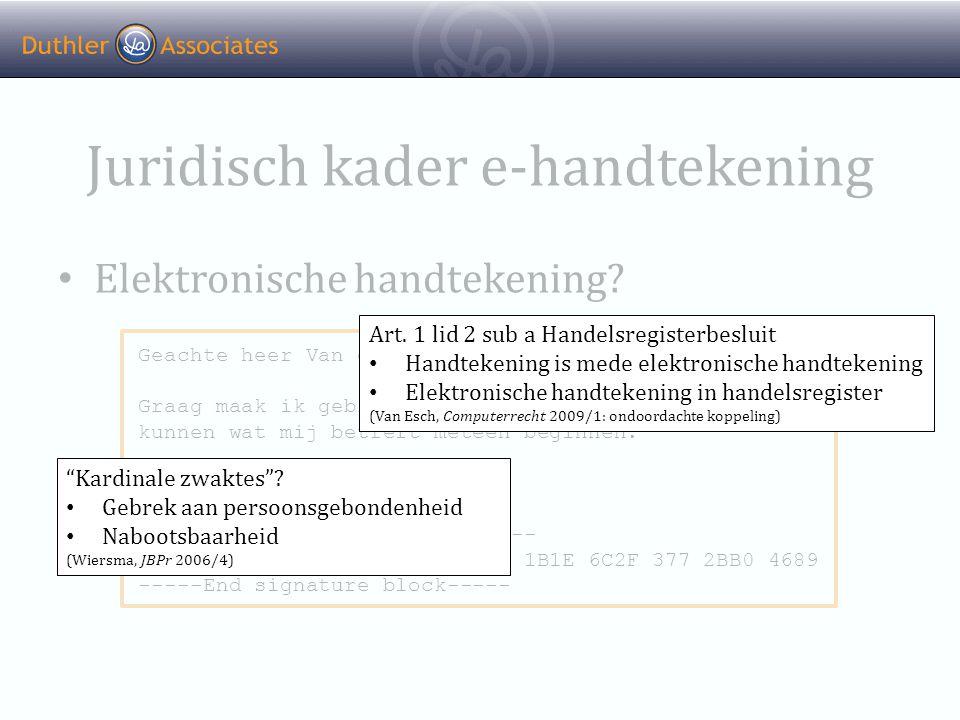 Juridisch kader e-handtekening • Elektronische handtekening.