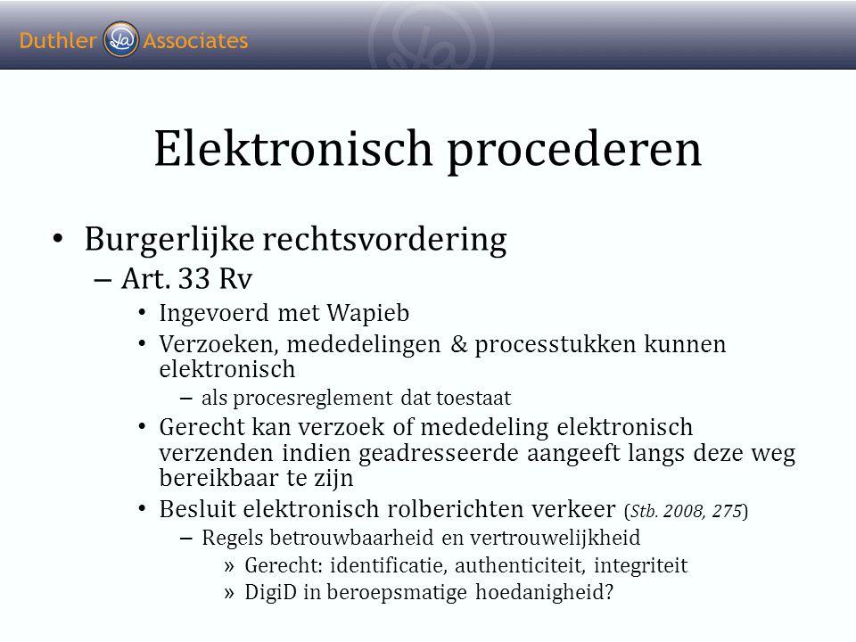 Elektronisch procederen • Burgerlijke rechtsvordering – Art.