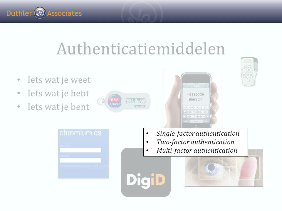 Authenticatiemiddelen • Iets wat je weet • Iets wat je hebt • Iets wat je bent • Single-factor authentication • Two-factor authentication • Multi-factor authentication