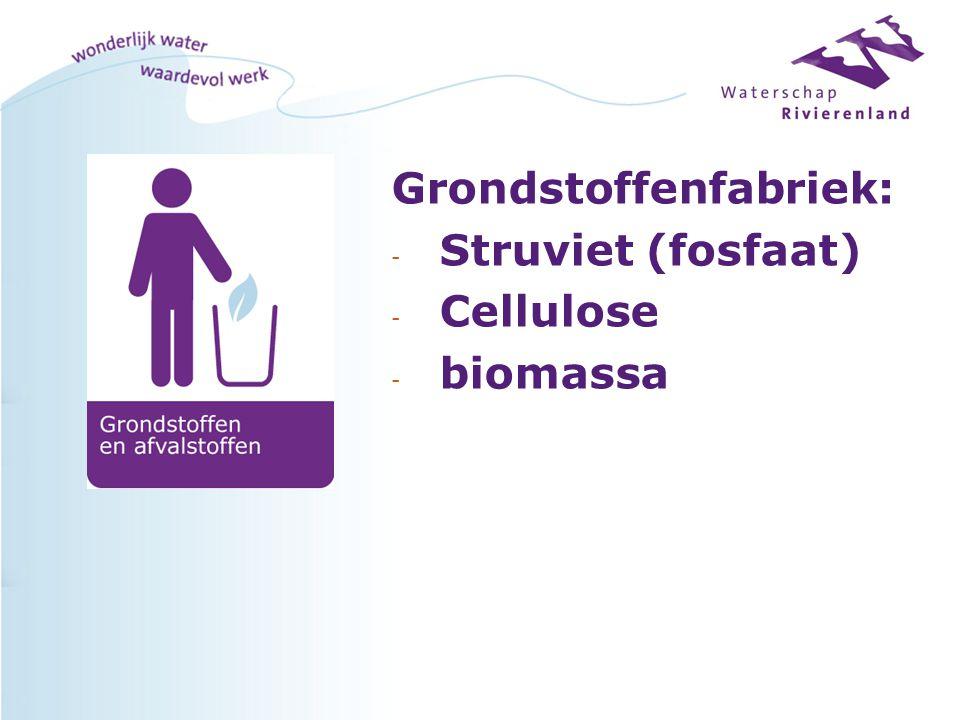 Grondstoffenfabriek: - Struviet (fosfaat) - Cellulose - biomassa