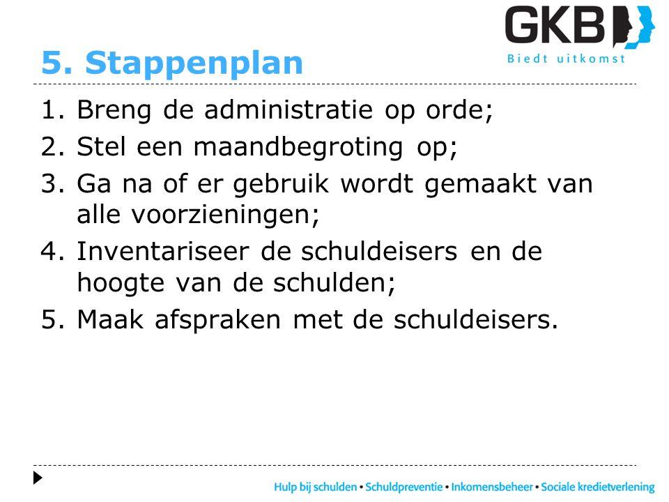 5. Stappenplan 1.Breng de administratie op orde; 2.Stel een maandbegroting op; 3.Ga na of er gebruik wordt gemaakt van alle voorzieningen; 4.Inventari