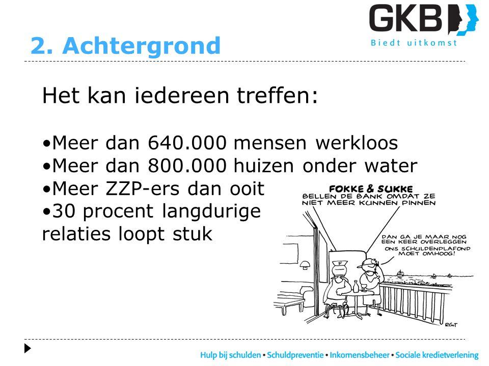 2. Achtergrond Het kan iedereen treffen: •Meer dan 640.000 mensen werkloos •Meer dan 800.000 huizen onder water •Meer ZZP-ers dan ooit •30 procent lan