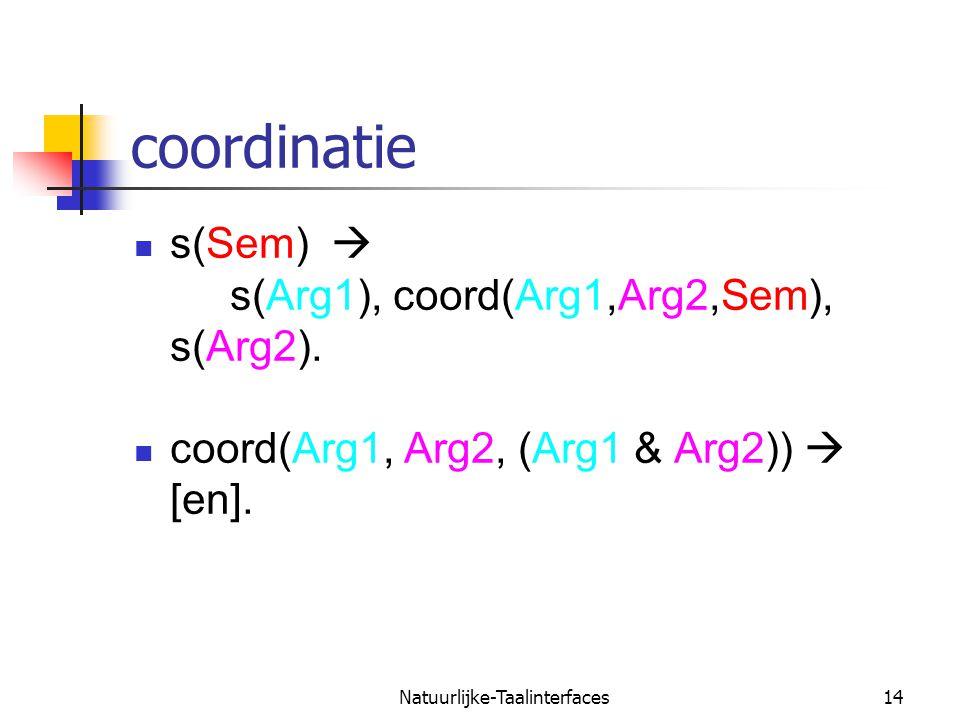 Natuurlijke-Taalinterfaces15 kwantoren  [ np ieder kind ] slaapt  forall(X, (kind (X) > slaap(X)))  Blijkbaar moet de NP de semantiek van S leveren.