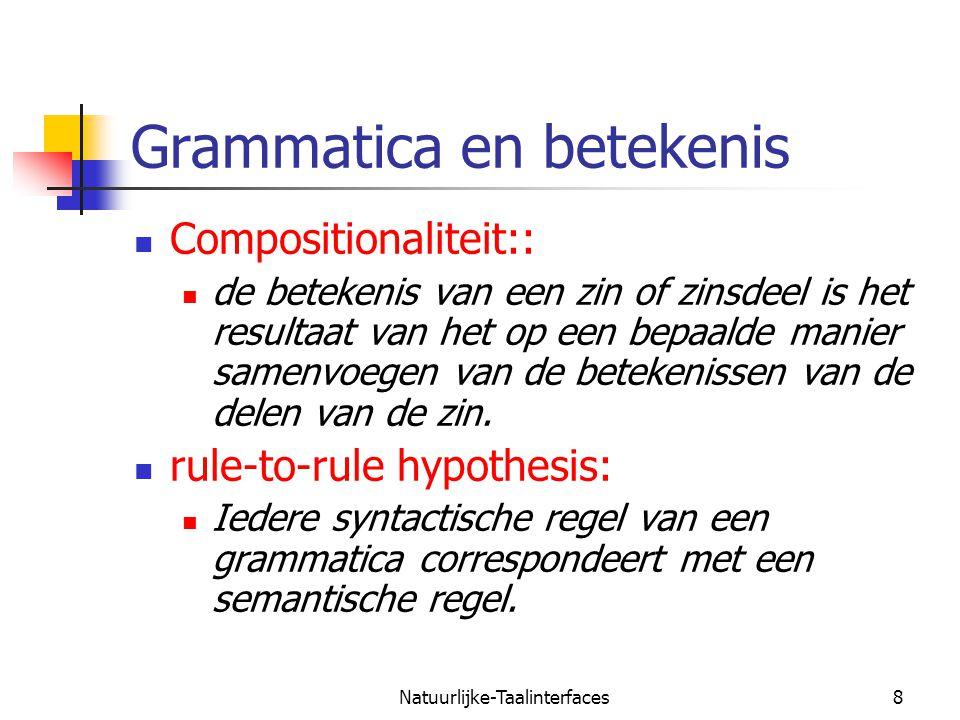 Natuurlijke-Taalinterfaces9 Semantiek en definite clause grammatica  s(Sem) --> np(Subj), vp(Subj,Sem).