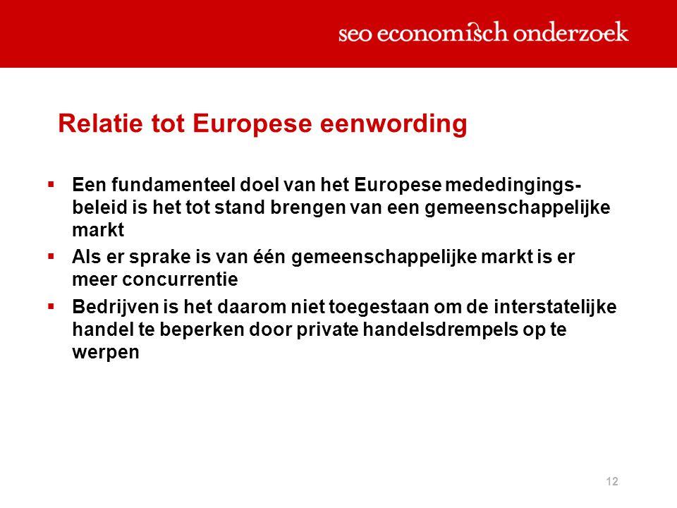 12 Relatie tot Europese eenwording  Een fundamenteel doel van het Europese mededingings- beleid is het tot stand brengen van een gemeenschappelijke m