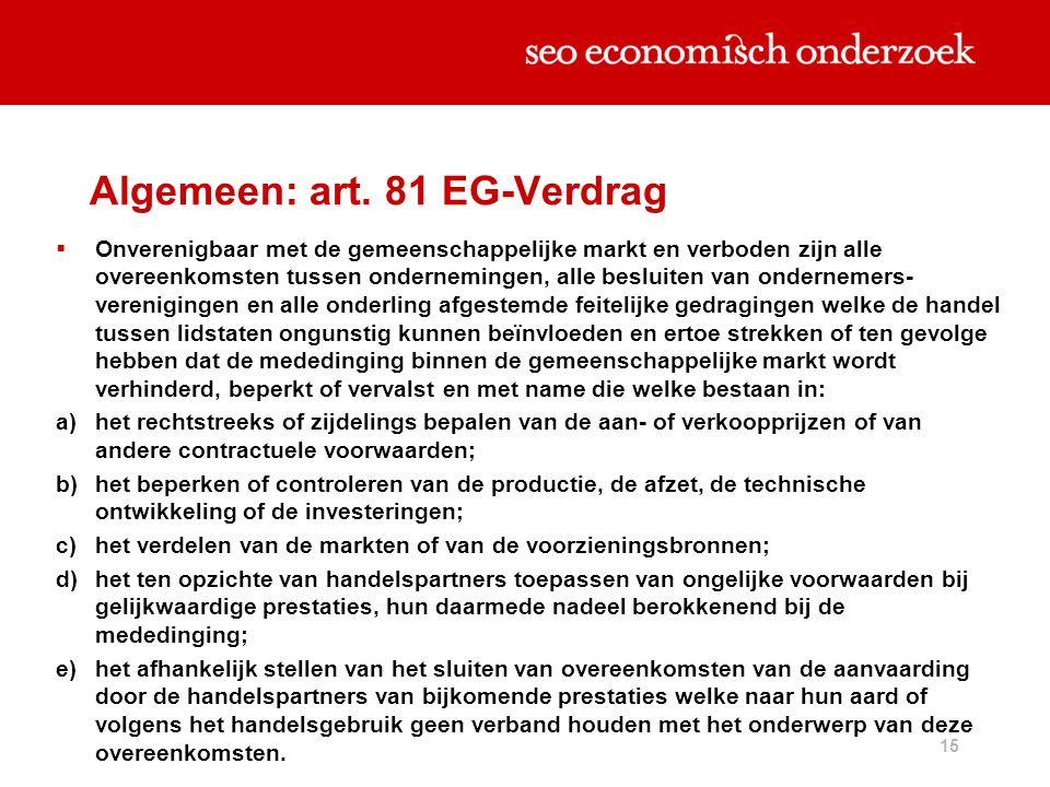 15 Algemeen: art. 81 EG-Verdrag  Onverenigbaar met de gemeenschappelijke markt en verboden zijn alle overeenkomsten tussen ondernemingen, alle beslui