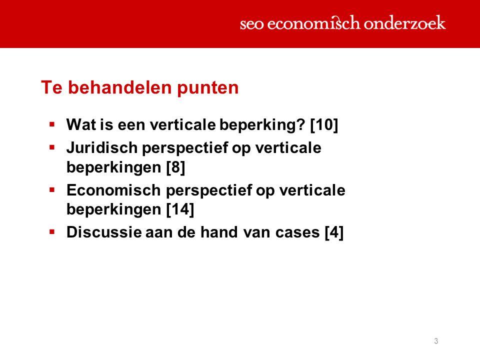 3 Te behandelen punten  Wat is een verticale beperking? [10]  Juridisch perspectief op verticale beperkingen [8]  Economisch perspectief op vertica