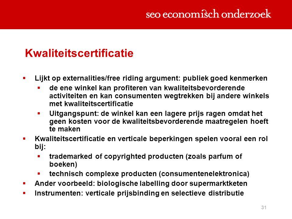 31 Kwaliteitscertificatie  Lijkt op externalities/free riding argument: publiek goed kenmerken  de ene winkel kan profiteren van kwaliteitsbevordere