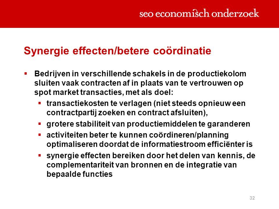 32 Synergie effecten/betere coördinatie  Bedrijven in verschillende schakels in de productiekolom sluiten vaak contracten af in plaats van te vertrou