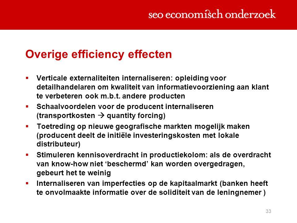 33 Overige efficiency effecten  Verticale externaliteiten internaliseren: opleiding voor detailhandelaren om kwaliteit van informatievoorziening aan