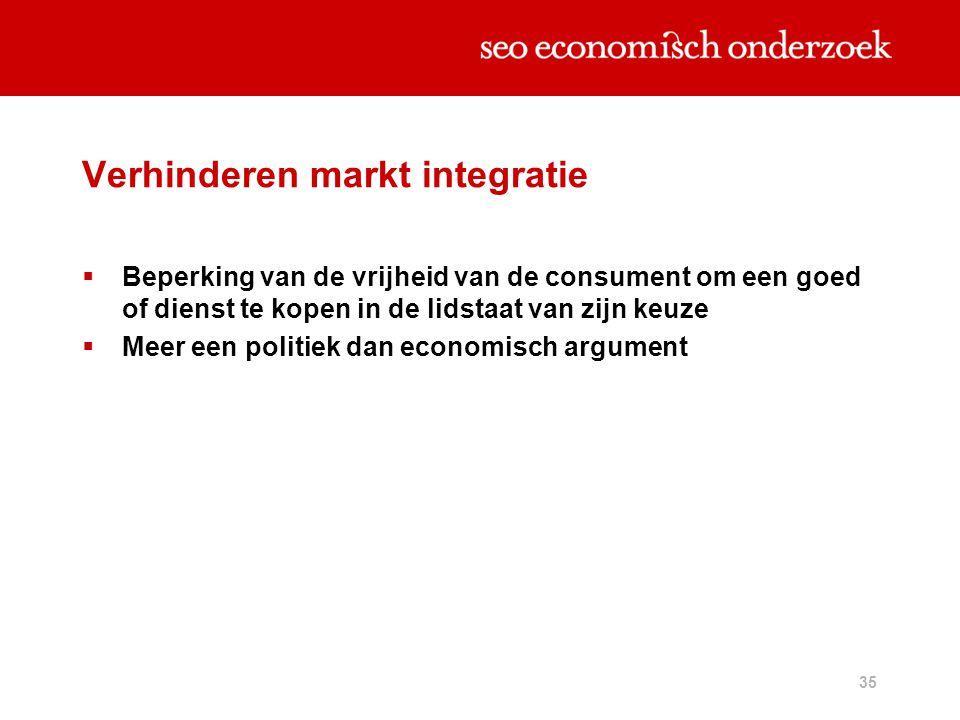 35 Verhinderen markt integratie  Beperking van de vrijheid van de consument om een goed of dienst te kopen in de lidstaat van zijn keuze  Meer een p
