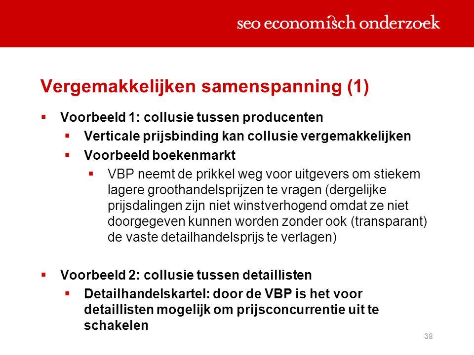 38 Vergemakkelijken samenspanning (1)  Voorbeeld 1: collusie tussen producenten  Verticale prijsbinding kan collusie vergemakkelijken  Voorbeeld bo