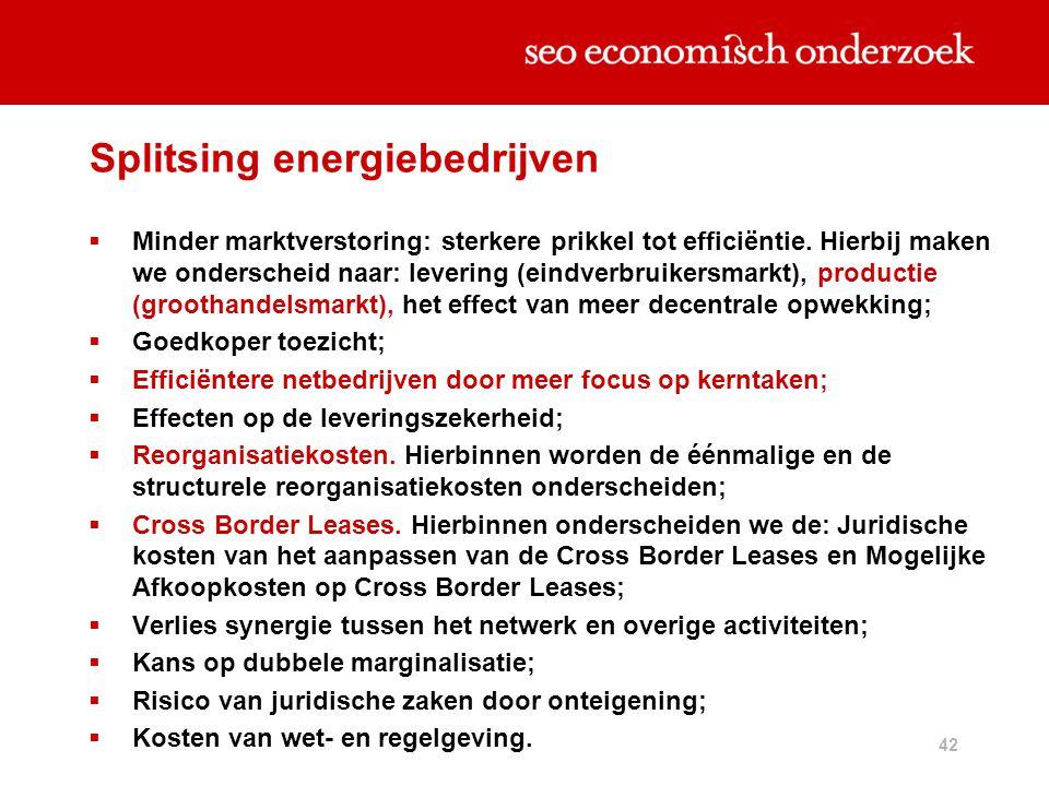 42 Splitsing energiebedrijven  Minder marktverstoring: sterkere prikkel tot efficiëntie. Hierbij maken we onderscheid naar: levering (eindverbruikers