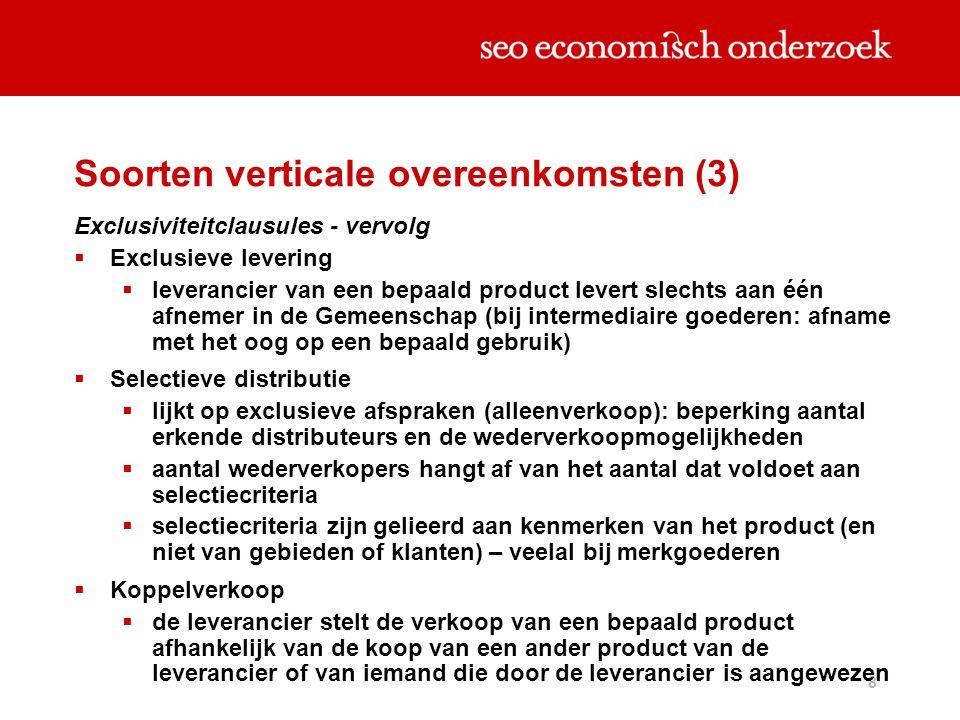 8 Exclusiviteitclausules - vervolg  Exclusieve levering  leverancier van een bepaald product levert slechts aan één afnemer in de Gemeenschap (bij i