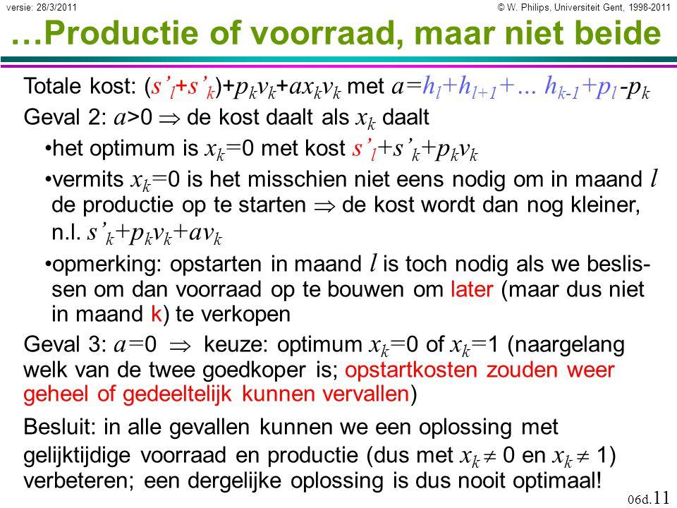 © W. Philips, Universiteit Gent, 1998-2011versie: 28/3/2011 06d. 11 …Productie of voorraad, maar niet beide Besluit: in alle gevallen kunnen we een op