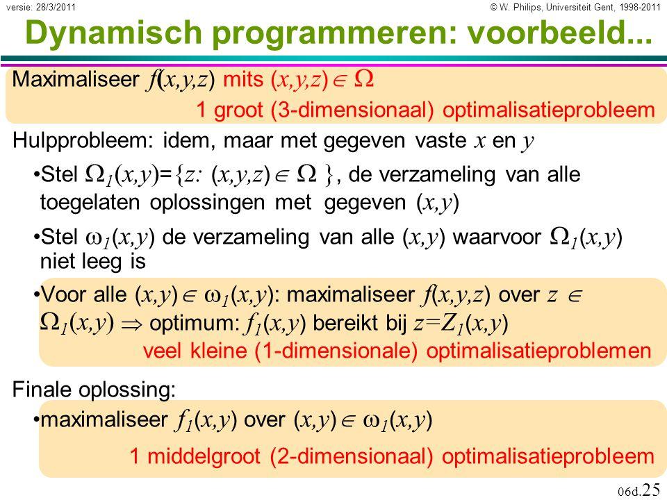 © W. Philips, Universiteit Gent, 1998-2011versie: 28/3/2011 06d. 25 veel kleine (1-dimensionale) optimalisatieproblemen 1 middelgroot (2-dimensionaal)