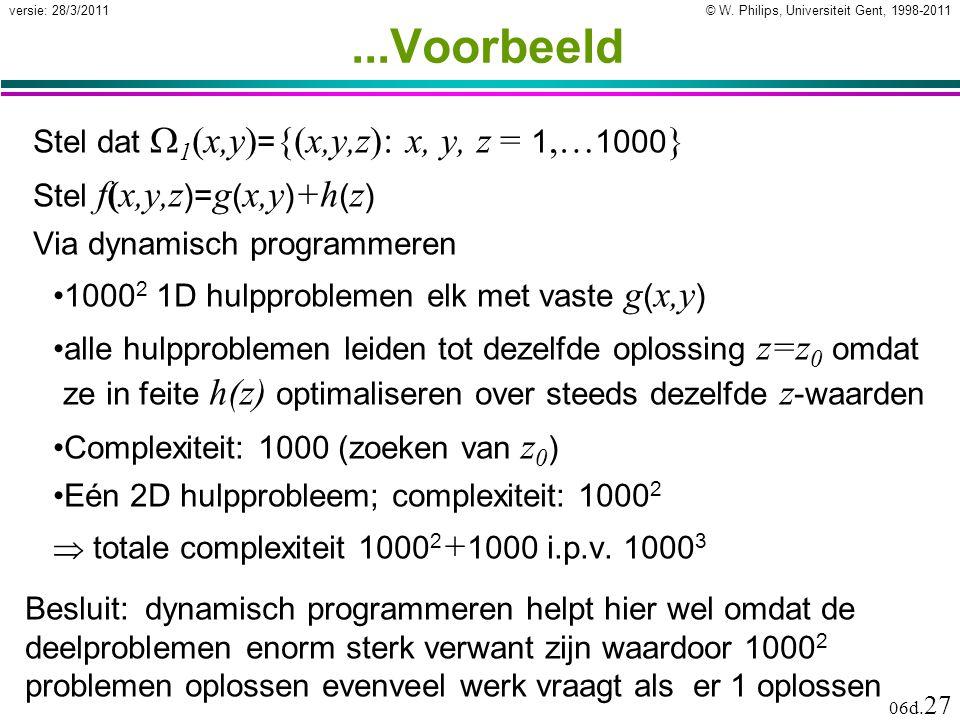 © W. Philips, Universiteit Gent, 1998-2011versie: 28/3/2011 06d. 27...Voorbeeld Stel dat  1 (x,y) = {(x,y,z): x, y, z = 1,… 1000 } Stel f(x,y,z )= g