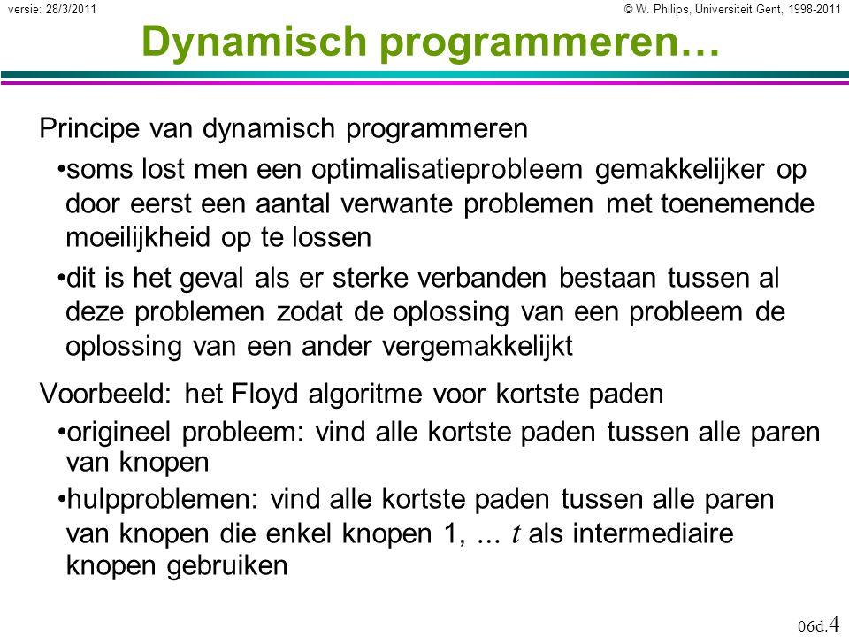 © W. Philips, Universiteit Gent, 1998-2011versie: 28/3/2011 06d. 4 Dynamisch programmeren… Voorbeeld: het Floyd algoritme voor kortste paden •originee