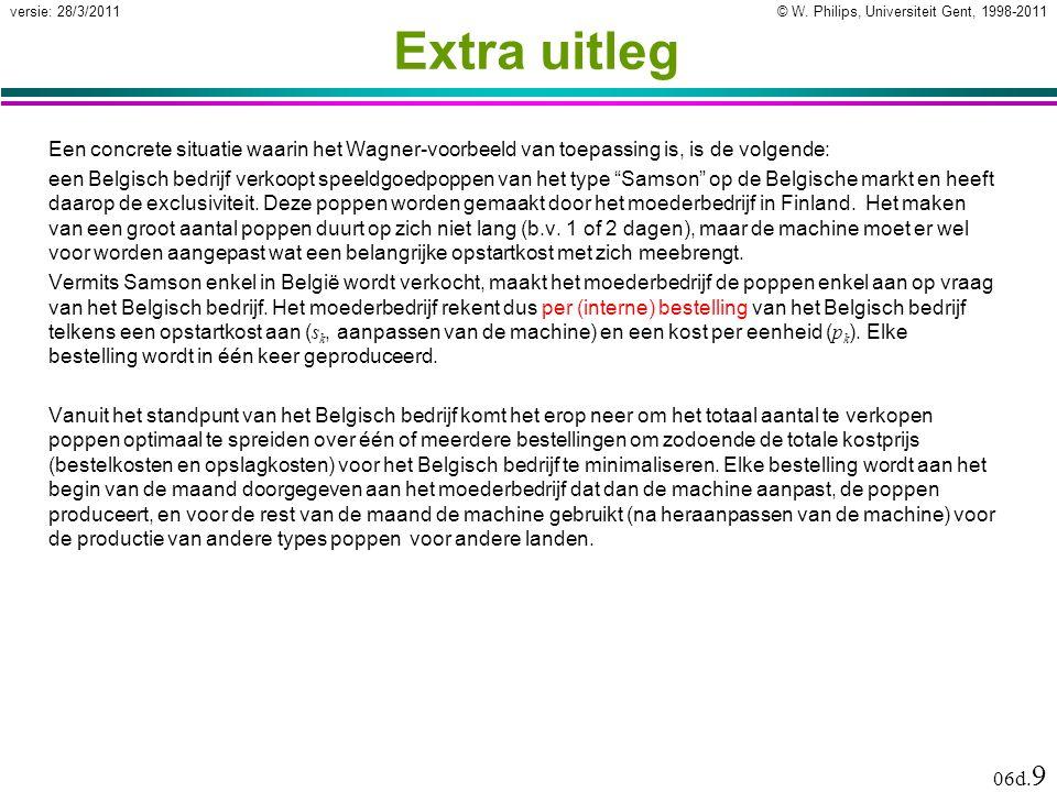 © W. Philips, Universiteit Gent, 1998-2011versie: 28/3/2011 06d. 9 Extra uitleg Een concrete situatie waarin het Wagner-voorbeeld van toepassing is, i