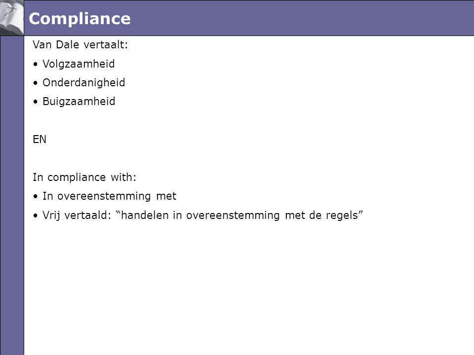 Compliance Van Dale vertaalt: •Volgzaamheid •Onderdanigheid •Buigzaamheid EN In compliance with: •In overeenstemming met •Vrij vertaald: handelen in overeenstemming met de regels