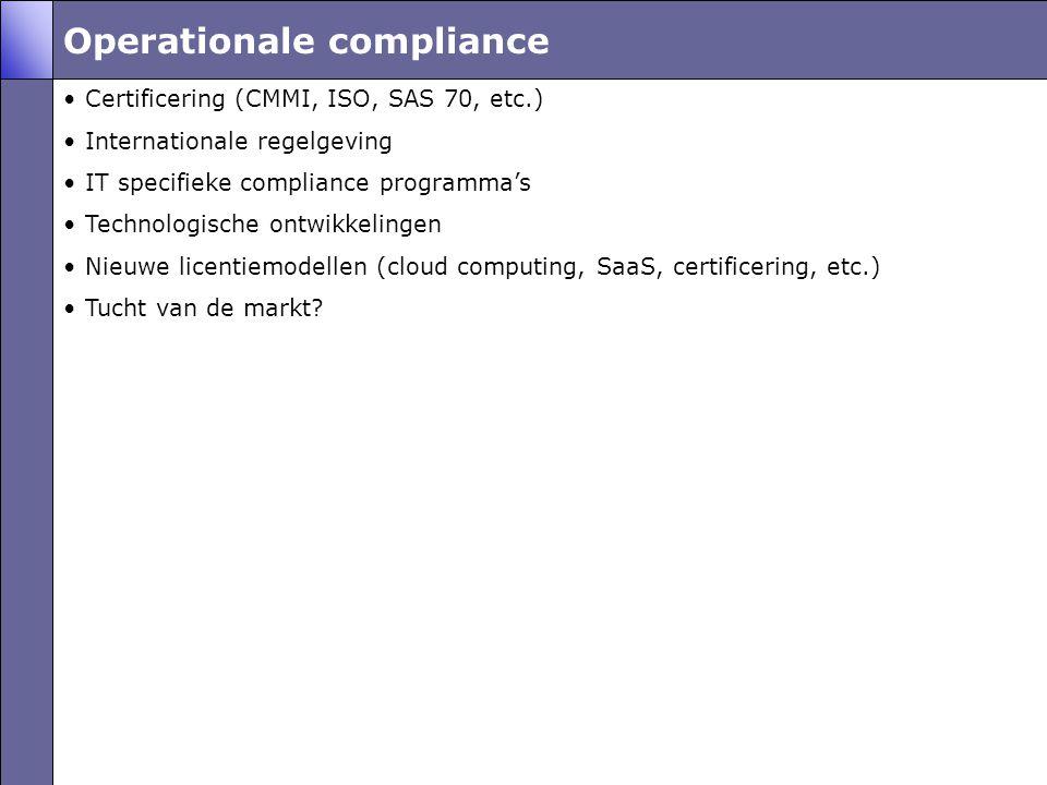 Operationale compliance •Certificering (CMMI, ISO, SAS 70, etc.) •Internationale regelgeving •IT specifieke compliance programma's •Technologische ontwikkelingen •Nieuwe licentiemodellen (cloud computing, SaaS, certificering, etc.) •Tucht van de markt?