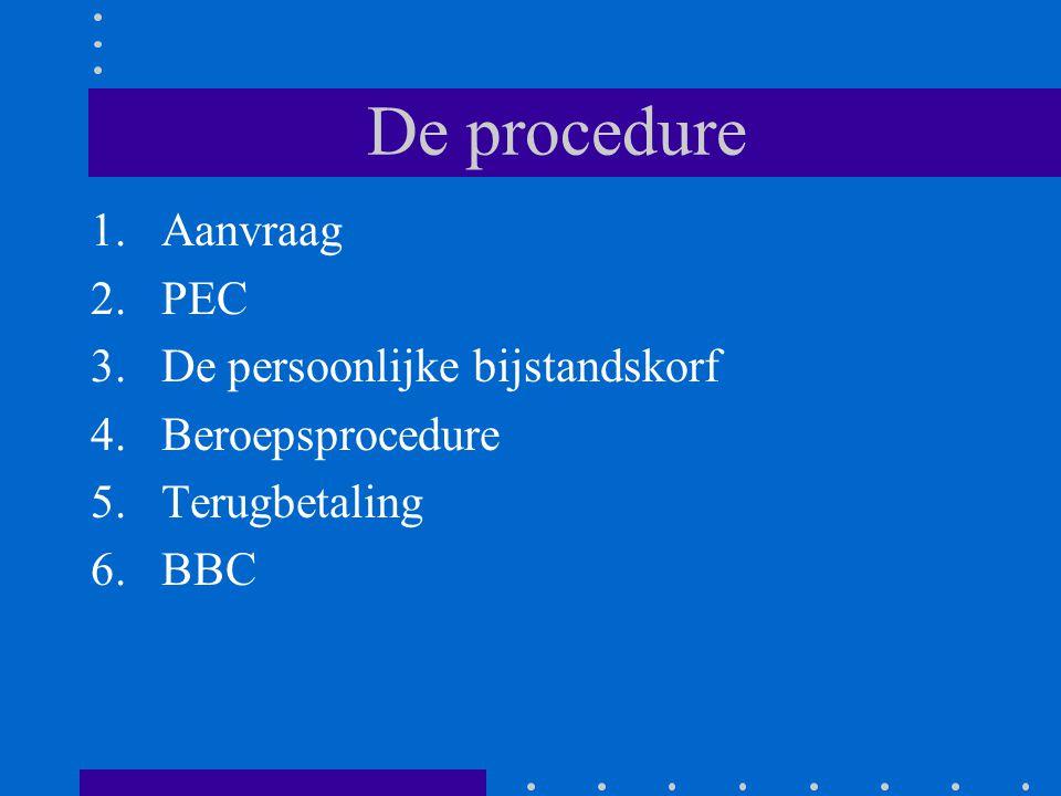 De procedure 1.Aanvraag 2.PEC 3.De persoonlijke bijstandskorf 4.Beroepsprocedure 5.Terugbetaling 6.BBC