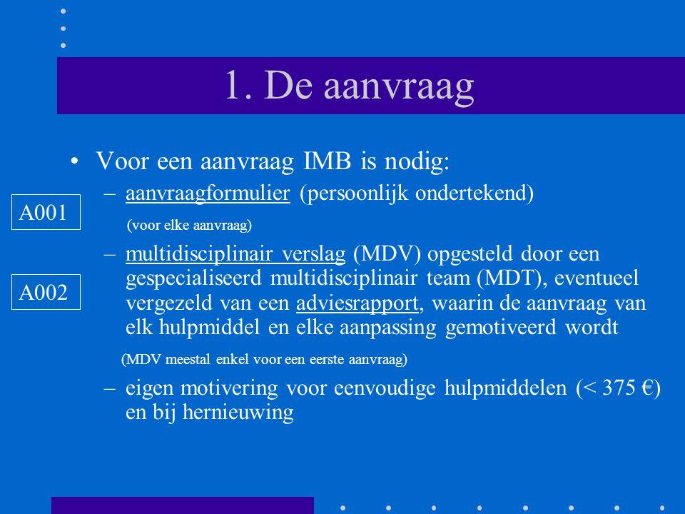 1. De aanvraag •Voor een aanvraag IMB is nodig: –aanvraagformulier (persoonlijk ondertekend) (voor elke aanvraag) –multidisciplinair verslag (MDV) opg