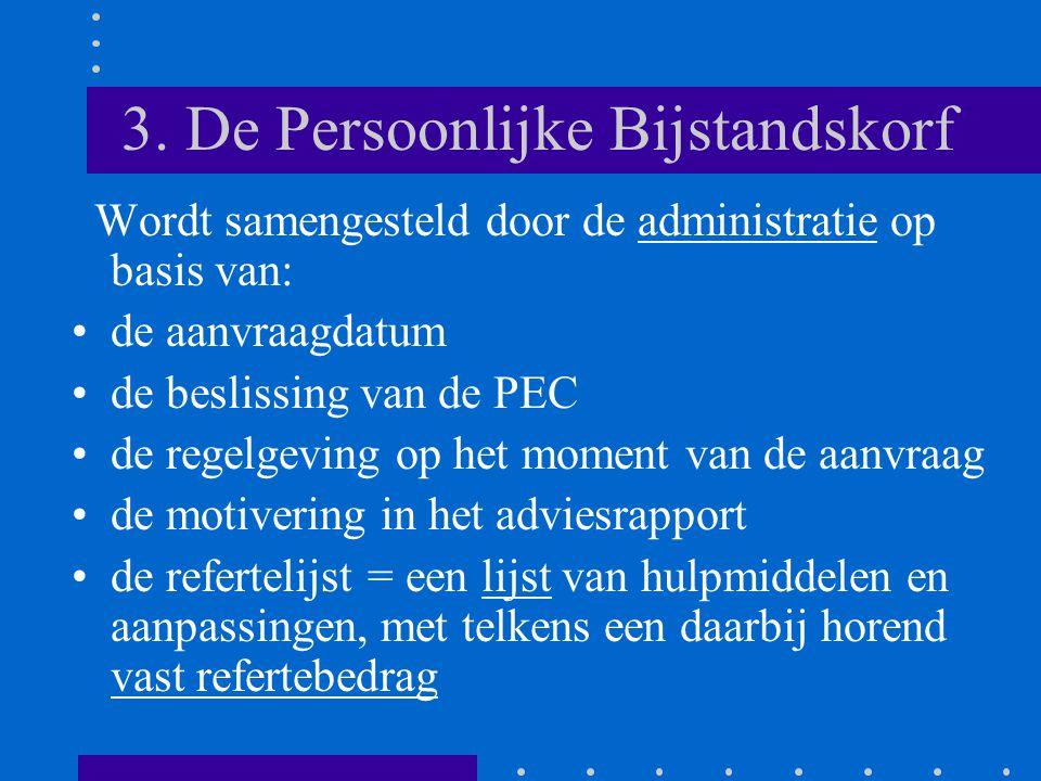 3. De Persoonlijke Bijstandskorf Wordt samengesteld door de administratie op basis van: •de aanvraagdatum •de beslissing van de PEC •de regelgeving op