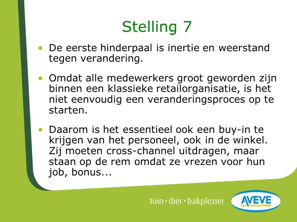 Stelling 7 •De eerste hinderpaal is inertie en weerstand tegen verandering. •Omdat alle medewerkers groot geworden zijn binnen een klassieke retailorg